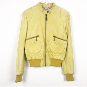 Doma hand-dyed leather bomber jacket